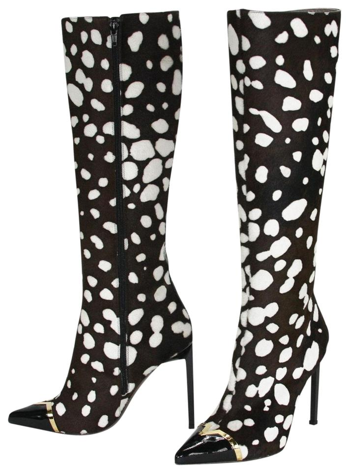 9f71645033cf8 Versace Black and White Leopard Print Collection High Heel Tall ...