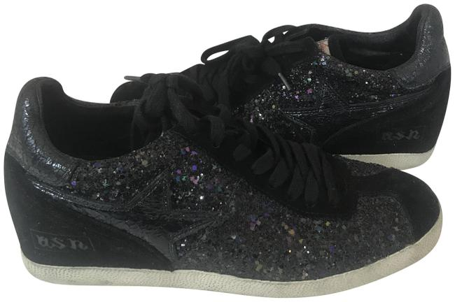 Item - Black/Silver 791118 Softly Glitter Suede Geupard Sneakers Size EU 39 (Approx. US 9) Regular (M, B)