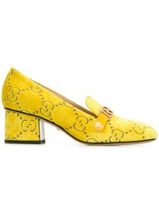 Gucci Sylvie Velvet Gg Yellow Pumps