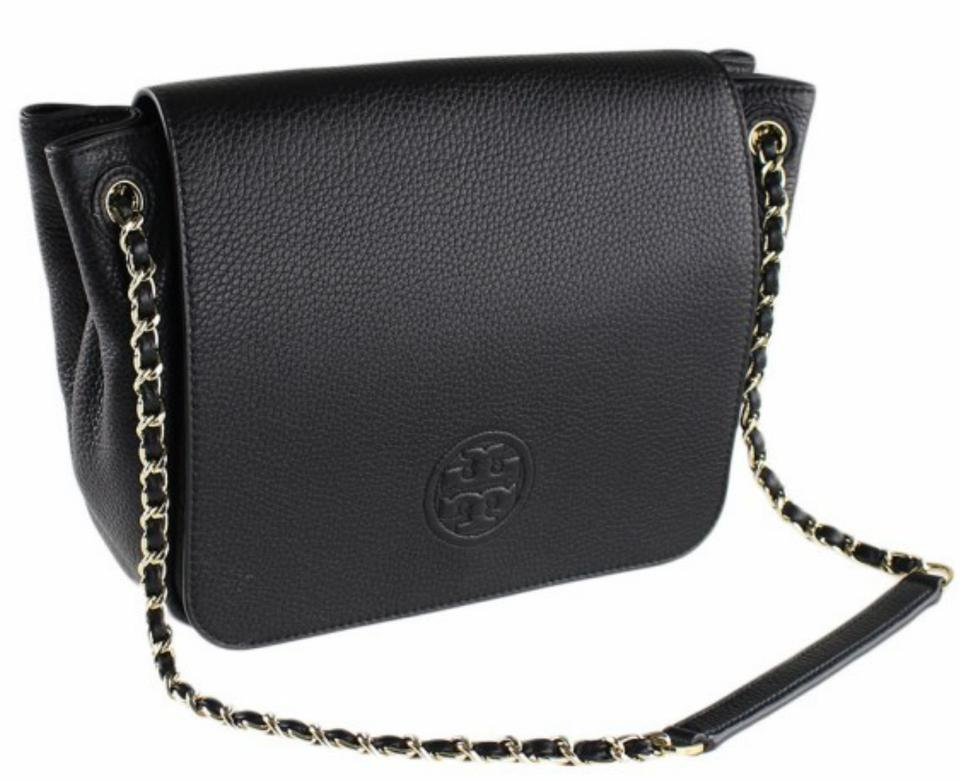 900793193754 Tory Burch Bombe Small Flap Black Leather Shoulder Bag - Tradesy