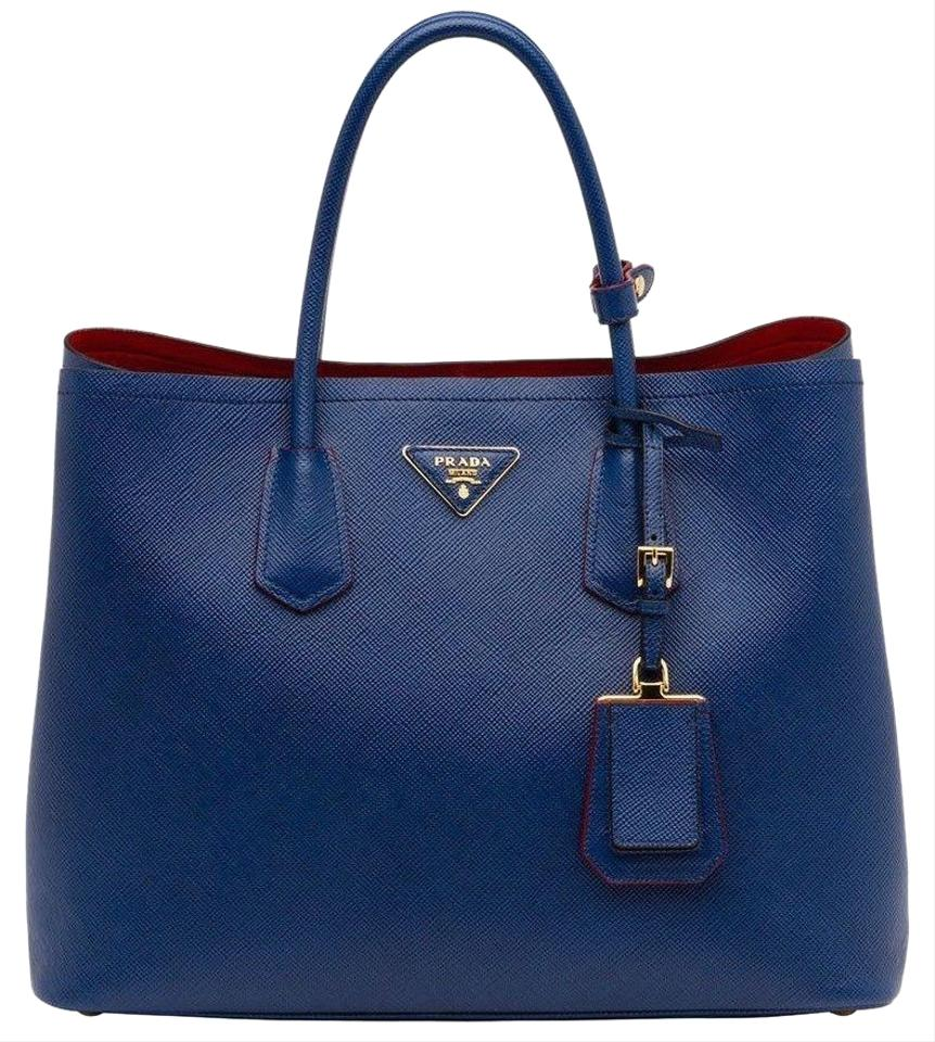 124242e1ba5e Prada Double Bn2761 Cuir Saffiano Blue Leather Tote - Tradesy