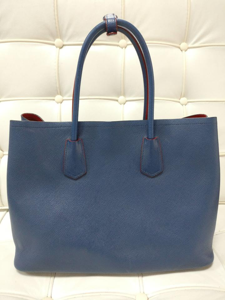 b0cb28f4c835 Prada Double Zip Saffiano Leather Cuir Tote in Blue Image 11.  123456789101112