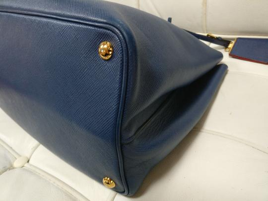 Prada Double Zip Saffiano Leather Cuir Tote in Blue