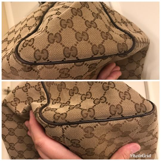 Gucci Tote in Beige brown canvas with dark brown leather trim