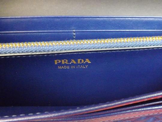 Prada BLUETTE BLUE QUILTED NYLON LEATHER CONTINENTAL WALLET w/ID HOLDER