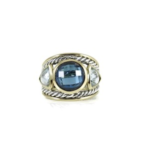 David Yurman David Yurman Sterling Silver 18K London Blue Topaz Blue Topaz Ring