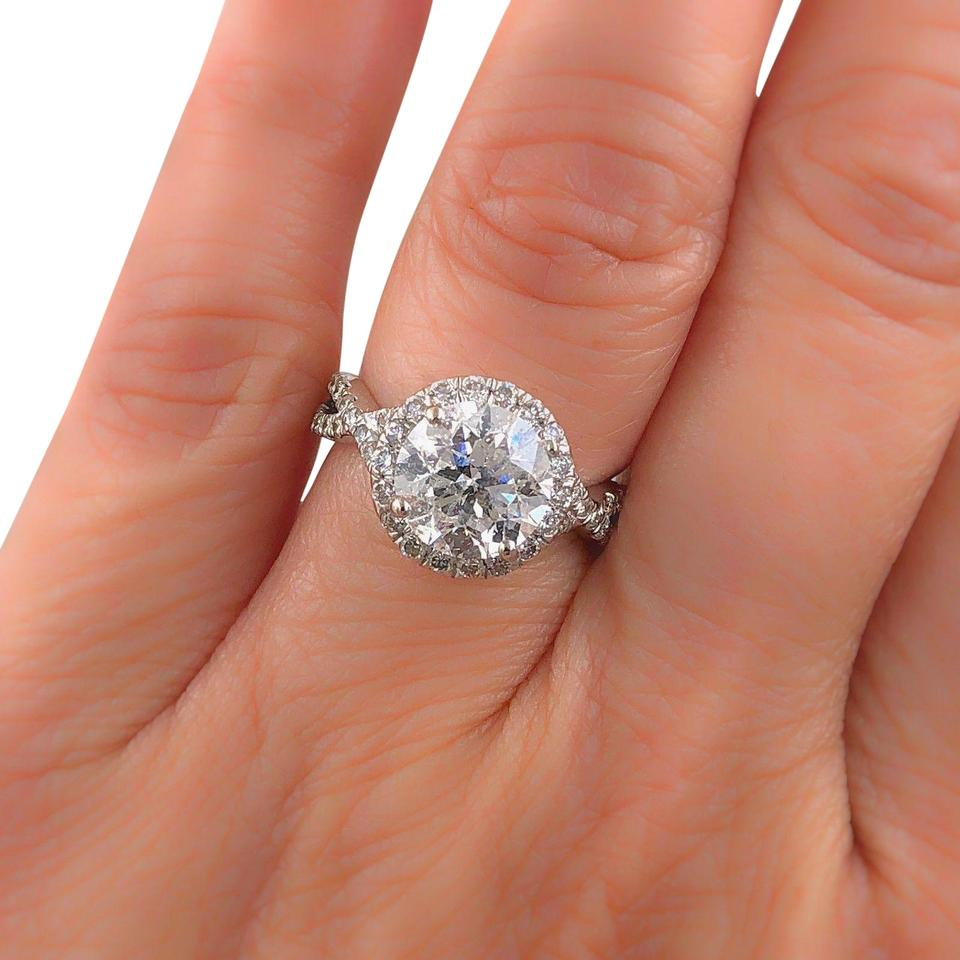 Clarity Enhanced Diamond Halo Design Rounds 2.95 Tcw 14k White Gold Ring 4d3ff33876