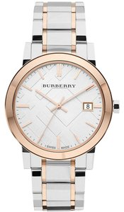 Burberry Burberry Rose Gold and Silver Swiss Unisex Large Check Watch BU9006