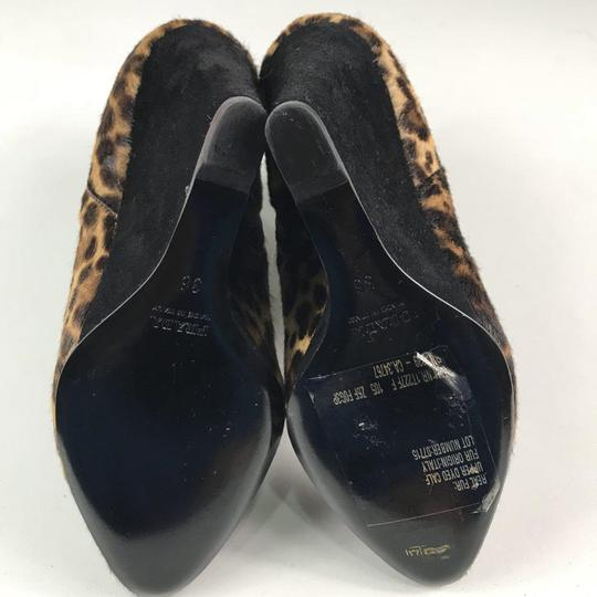 Prada Wedge Animal Print Cow Fur Brown Black Boots
