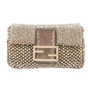 Fendi Embellished Evening Beaded Gold Clutch