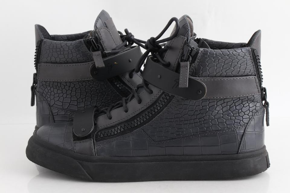 1d11e1215cb48 Giuseppe Zanotti Gray Men's Croc-embossed High-top Leather Sneakers Shoes  Image 0 ...