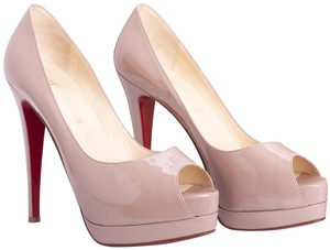 Christian Louboutin Patent Leather Leather Peep Toe beige Pumps