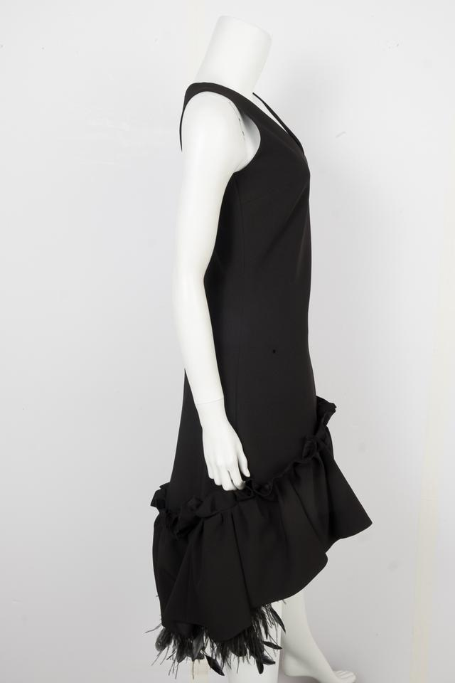 a2c139ef44072 Huishan Zhang Black Feather Trim Mid-length Cocktail Dress Size 4 (S) -  Tradesy