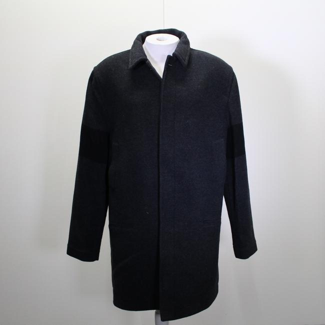 James Perse Gray Wool Black Ribbed Trench Coat Shirt James Perse Gray Wool Black Ribbed Trench Coat Shirt Image 1