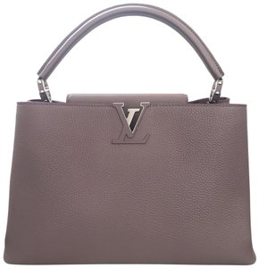Louis Vuitton Capucines Leather Satchel in taupe