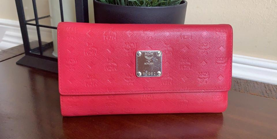 mcm red leather long tri fold w photo id window wallet tradesy