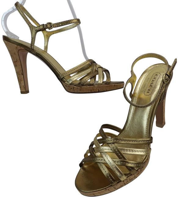 Item - Gold Patent Leather Ankle Straps Cork Heel Sandals Italy Pumps Size US 9 Regular (M, B)