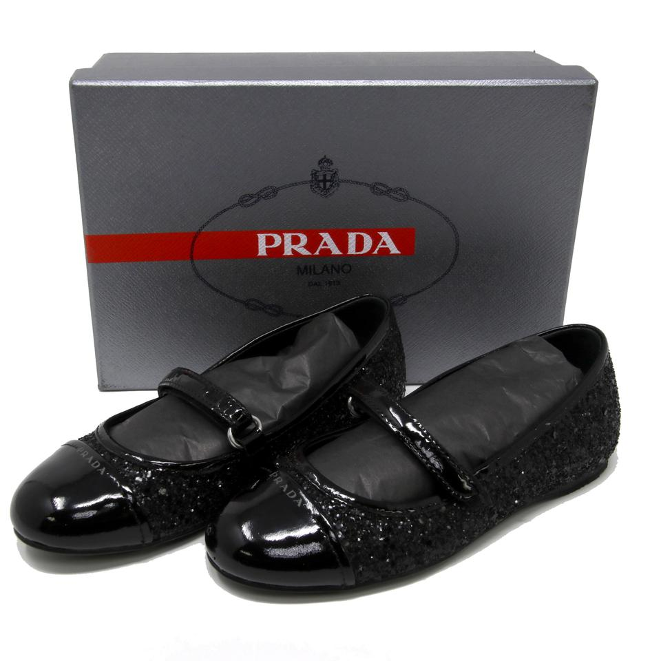 b9b631cf8b3fe Prada Black Glitter Princess Super Star Noir Toe Kid s Girls Mary Jane Luna  Flats Size US 13 Regular (M