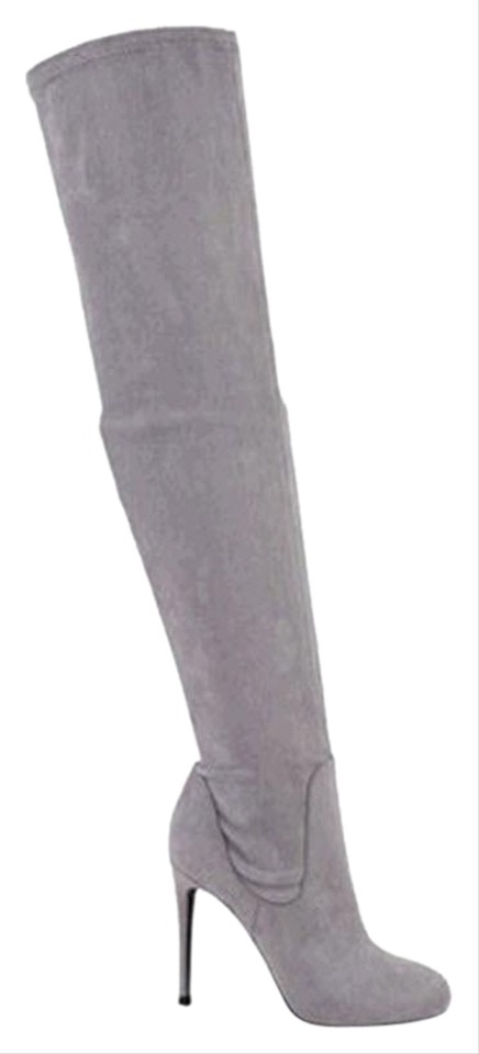 Charles By David Grey Suede Lyssa Over The Knee Micro Boots Booties