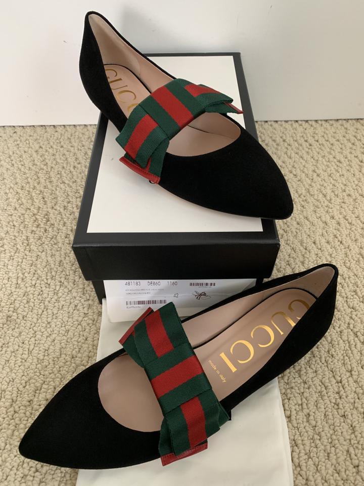 9f1dc19530860e Gucci Black Classic Web Green Red Bow Suede Ballet Flats Size EU 42  (Approx. US 12) Regular (M