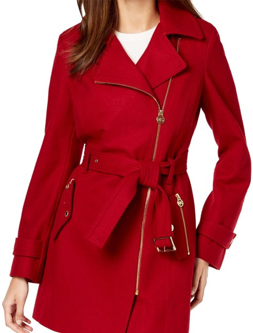 Item - Red Assymetrical Belted Coat Size 12 (L)