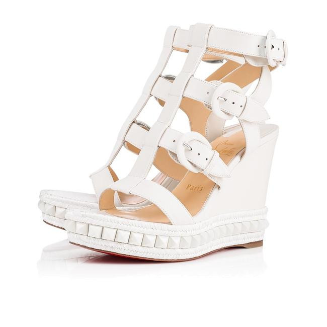Item - White Rocknbuckle 009 110 Strap Stud Platform Wedge Stiletto Sandal Heel Pumps Size EU 35 (Approx. US 5) Regular (M, B)