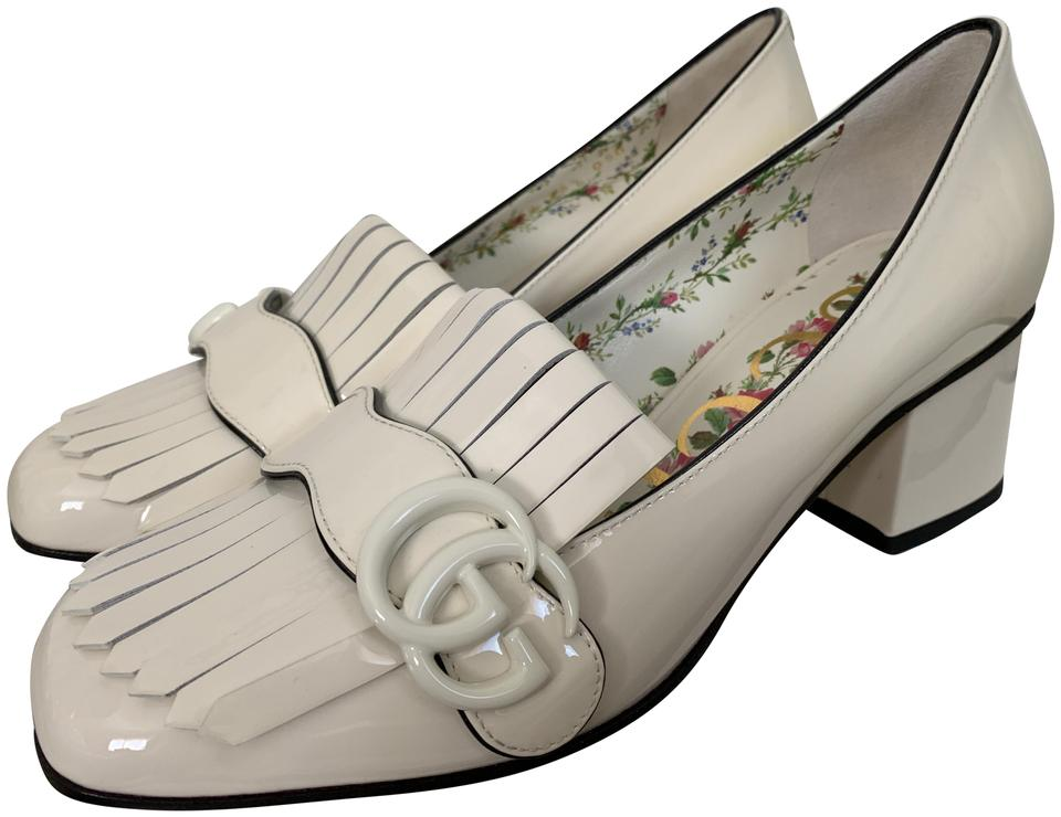 1f22430266c Gucci Mystic White Marmont Fringe Gg Logo Patent Loafer Pumps Size ...