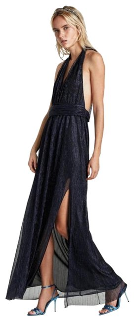 Item - Blue Halter Neck Low Cut Gown with Slit Long Formal Dress Size 6 (S)