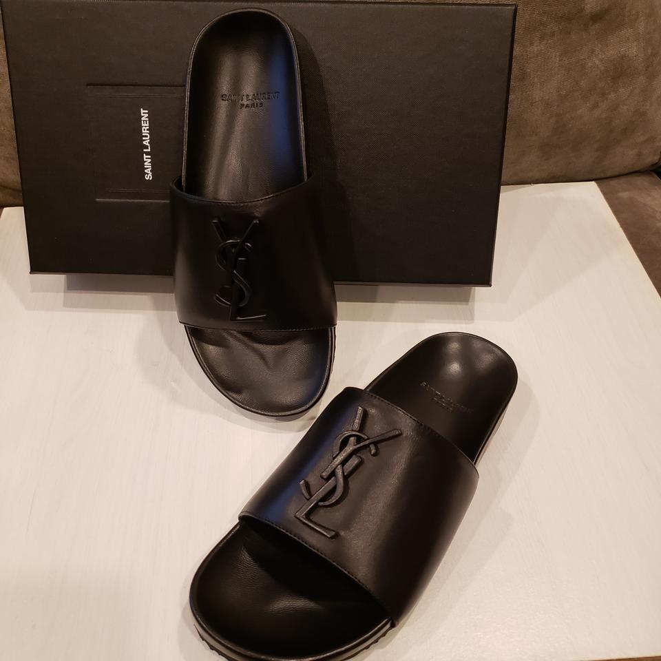 2f5aa513ef74 Saint Laurent Black Yves Joan Ysl Monogram Leather Flat Sandals Size EU 36  (Approx. US 6) Regular (M