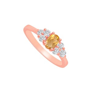 DesignByVeronica Citrine and CZ Seven Stones Ring 14K Rose Gold Vermeil