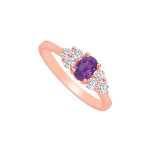 DesignByVeronica Amethyst and CZ Seven Stones Ring 14K Rose Gold Vermeil