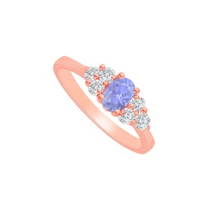 DesignByVeronica Tanzanite and CZ Engagement Ring in Rose Gold Vermeil