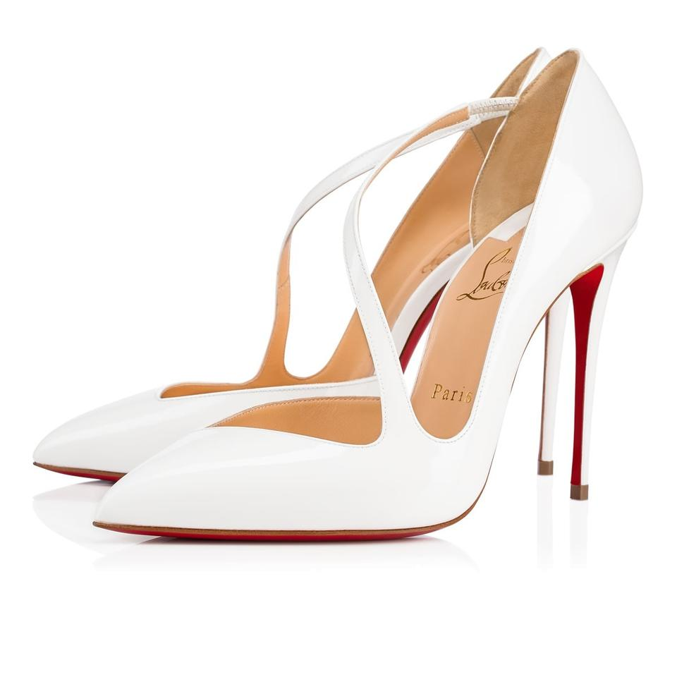 low cost 41252 231e2 Christian Louboutin White Jumping 100 Patent Cross Strap Wedding Bridal  Stiletto Heel Pumps Size EU 39 (Approx. US 9) Regular (M, B)