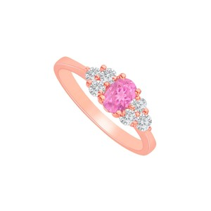 DesignByVeronica Pink Sapphire CZ Engagement Ring in Rose Gold Vermeil