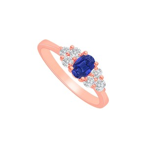 DesignByVeronica Sapphire CZ Engagement Ring in 14K Rose Gold Vermeil