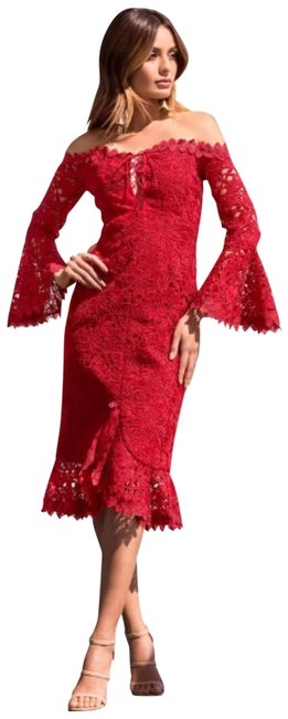 Preload https://img-static.tradesy.com/item/24488165/gracia-red-chunky-lace-off-the-shoulder-mid-length-formal-dress-size-8-m-0-2-650-650.jpg