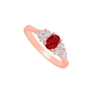 DesignByVeronica Ruby and CZ Engagement Ring in 14K Rose Gold Vermeil