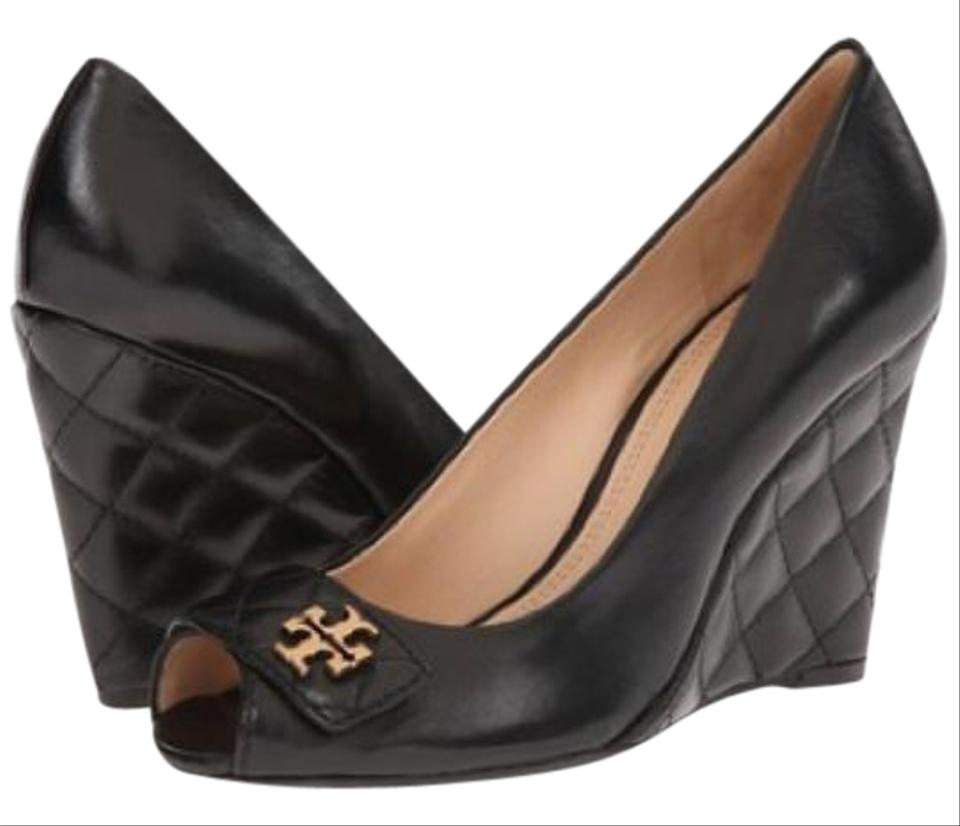 1e2f9af7ac93c7 Tory Burch Black Leila 100mm Open Toe Wedge-mestico Quilted Wedges ...