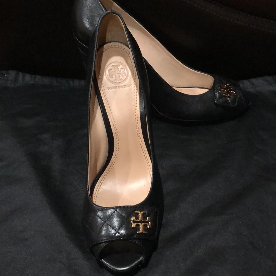 2b63e48cef1a4f Tory Burch Black Leila 100mm Open Toe Wedge-mestico Quilted Wedges Size US  9.5 Regular (M