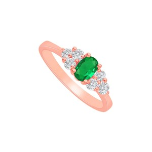 DesignByVeronica Emerald and CZ Engagement Ring in 14K Rose Gold Vermeil