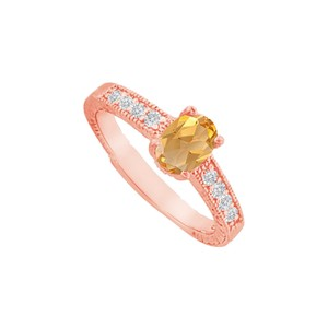 DesignByVeronica Citrine and CZ Prong Set Ring in Rose Gold Vermeil
