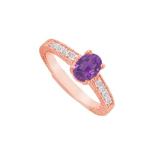 DesignByVeronica Amethyst and CZ Prong Set Ring in Rose Gold Vermeil