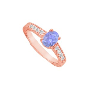 DesignByVeronica Tanzanite and CZ Prong Set Ring in Rose Gold Vermeil