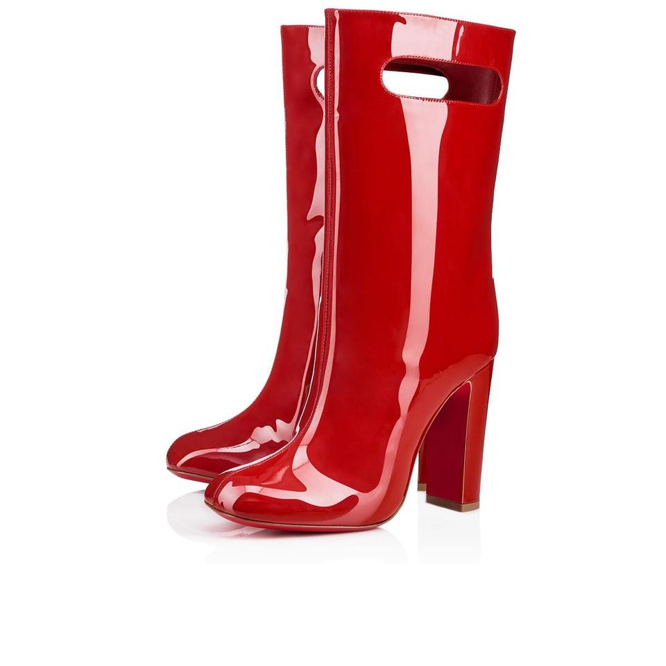 newest 3845e 39361 Christian Louboutin Red Bag 100 Tomette Patent Shopping Stiletto Block  Boots/Booties Size EU 36 (Approx. US 6) Regular (M, B) 49% off retail