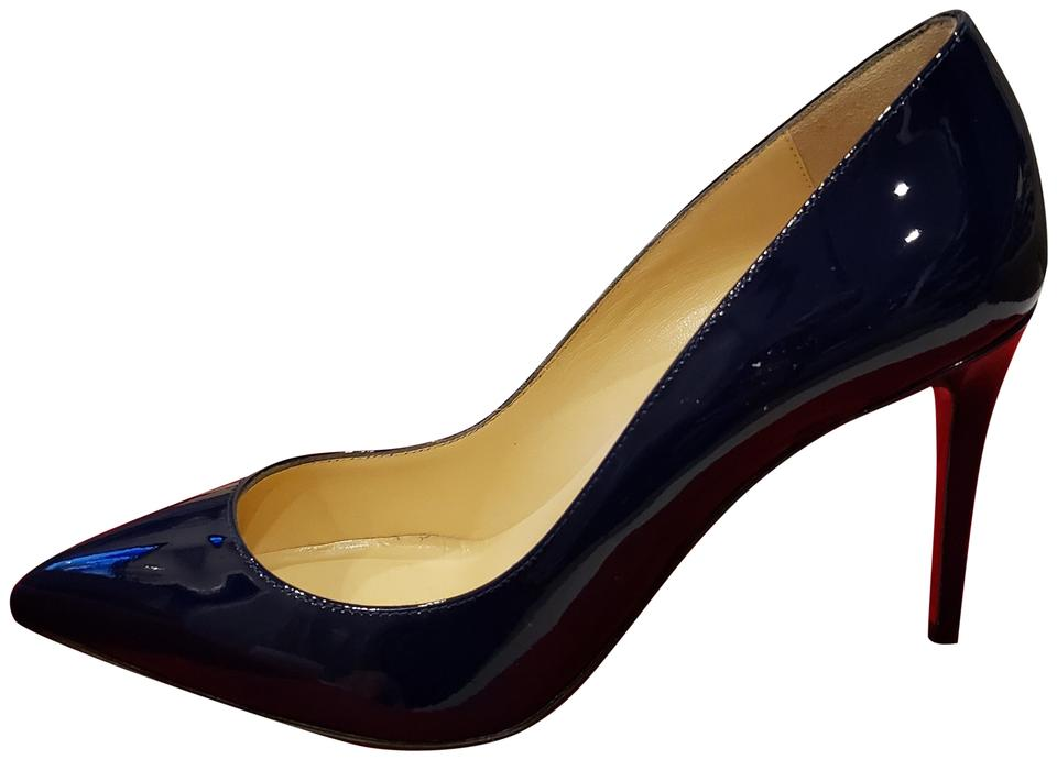 25599e52372 Christian Louboutin China Blue Pigalle Follies 85 Patent Leather Pumps