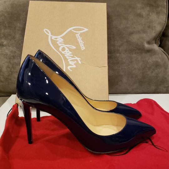Christian Louboutin Stiletto Pigalle Follies Patent Leather China Blue Pumps Image 10