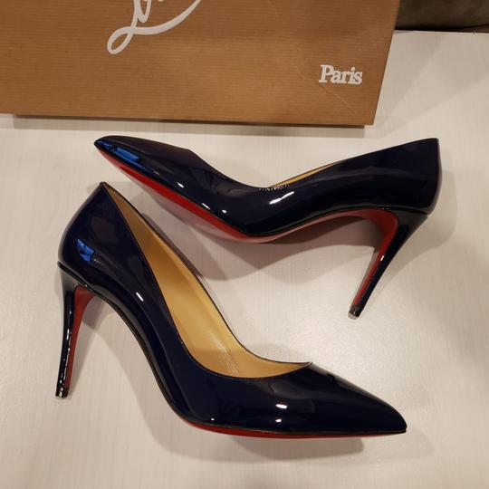 Christian Louboutin Stiletto Pigalle Follies Patent Leather China Blue Pumps Image 2
