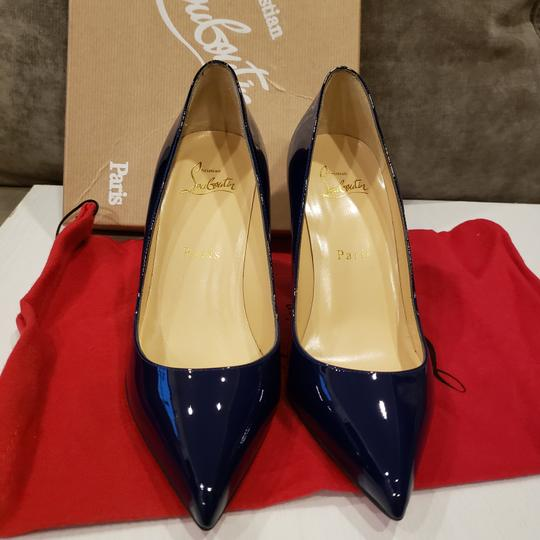 Christian Louboutin Stiletto Pigalle Follies Patent Leather China Blue Pumps Image 5