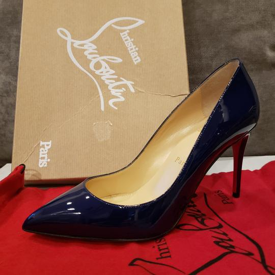 Christian Louboutin Stiletto Pigalle Follies Patent Leather China Blue Pumps Image 7