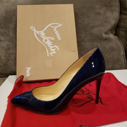 Christian Louboutin Stiletto Pigalle Follies Patent Leather China Blue Pumps Image 8